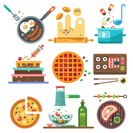 Illustrazione per Illustrations of food in the cooking process. The whole range of food fried boiled vegetarian national. Healthy eating diet and fast food. Vector flat illustration - Immagini Royalty Free