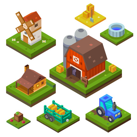 Farm set in isometric view. Attributes for agriculture in the countryside. Farm building. Farmhouse, mill, country house and a tractor. Vector flat illustration