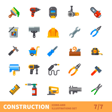 Illustration pour Construction set. Big building icon vector set. Tools for painting, repair, welding, joinery in new or old house. Vector flat illustration - image libre de droit