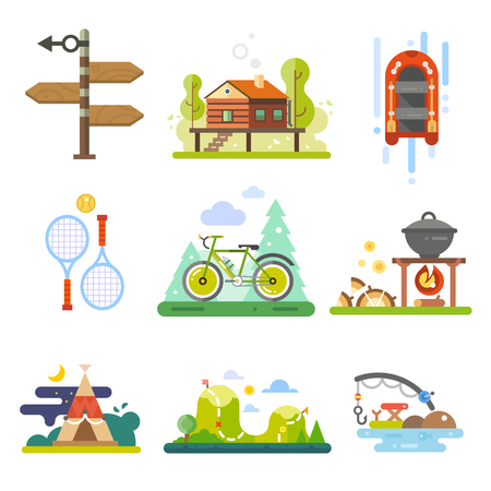 Activities in the forest or leisure on nature. Rafting, tennis, bike, hiking or fishing. Vector icon flat set