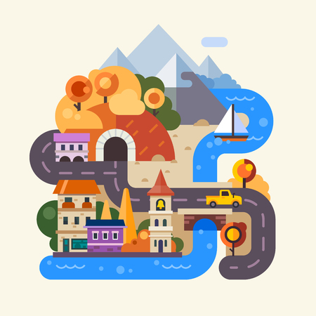Set of landscapes. Rainy autumn day in the city, street with houses, cars and people with umbrella. Rainbow after the rain in the countryside, mountains and fields. Vector flat Illustrationsのイラスト素材