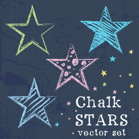 Set of colorful stars drawn like chalk drawing on grunge chalkboard background.