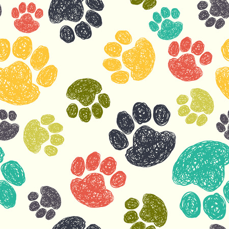Cute seamless pattern with colorful hand drawn doodle paw prints. Animal background.のイラスト素材
