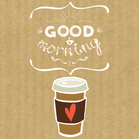 Cartoon morning cup of coffee. Hand drawn doodle cup of coffee to go and hand written lettering Good Morning, isolated on brown kraft paper background.