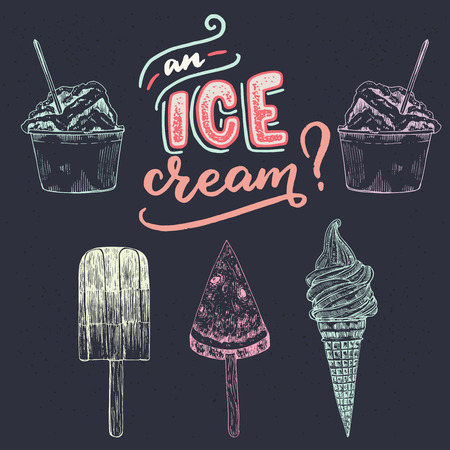 Hand drawn lettering phrase An Ice Cream? with different kind of sketched ice-cream images. Summer mood handwritten inscription on the dark background. For seasonal banner, shop, store, cafe chalkboard