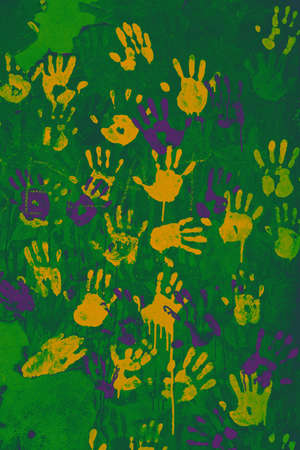 Colored handprints on the wall