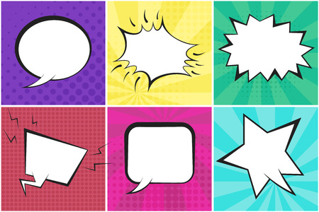 Retro comic speech bubbles on colorful dotted and striped backgrounds in pop art style. Green, blue, red, yellow, purple and pink places for comics book, advertisement text, web design, badge, banner