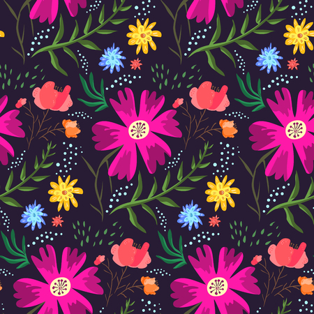 Ilustración de Contrast floral summer seamless pattern of rich colors. Bright cartoon hand drawn texture with pink, blue and orange flowers, leaves, waterdrops for textile, wrapping paper, print design, surface - Imagen libre de derechos