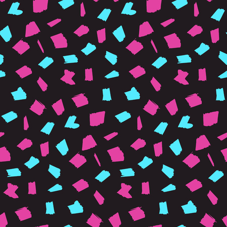 Abstract seamless pattern with pink and blue blotches on dark black background. Contrast trendy vector texture with sketch shapes for textile, wrapping paper, cover, surface, wallpaper