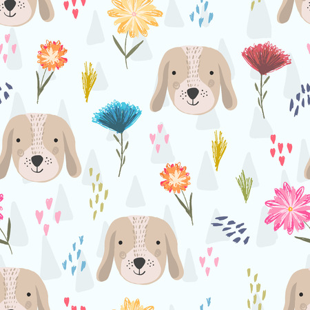 Illustration pour Cute seamless pattern with cartoon colorful dog heads, pink hearts and colorful childish flowers. Funny hand drawn domestic puppy texture for kids design, wallpaper, textile, wrapping paper - image libre de droit