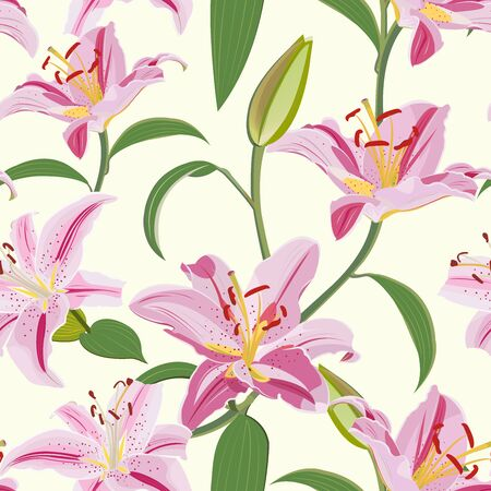 Illustration pour Lily flower seamless pattern on white background, Pink lily floral vector illustration - image libre de droit