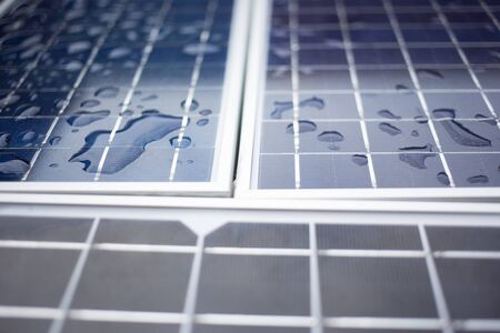 Photo for Close-up Solar panels (solar cell) with water drop after the rain. - Royalty Free Image