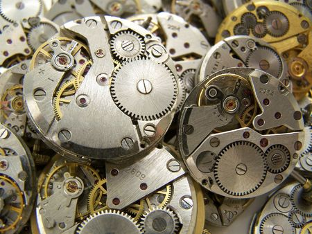 Some clockworks. Close-up.