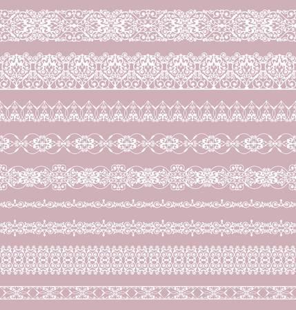 Illustration pour Set of white borders on a pink background - image libre de droit