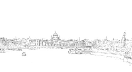Illustration for sketch panorama of Moscow - Royalty Free Image