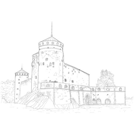 Illustration pour sketch of the medieval fortress of St. Olav in Finland - image libre de droit
