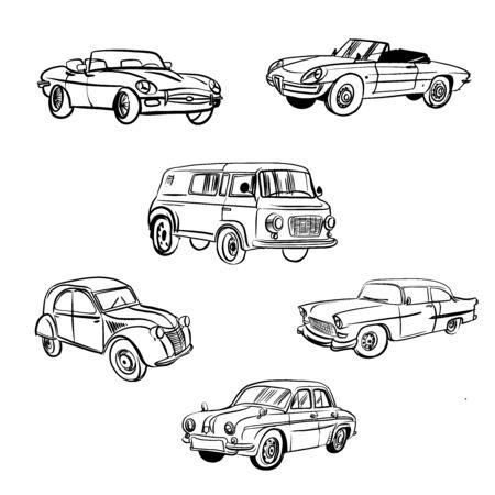 Illustration pour Vintage vector car collection. Sketch illustration - image libre de droit