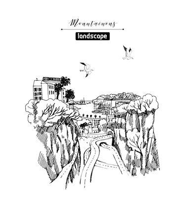 Illustration pour Vector sketches of mountain landscapes and mountain village. Hand drawn illustration. - image libre de droit