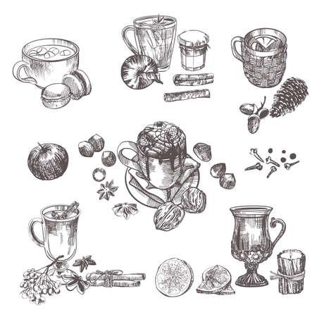 Illustration pour Winter vector holiday set. Sketch and watercolor - image libre de droit