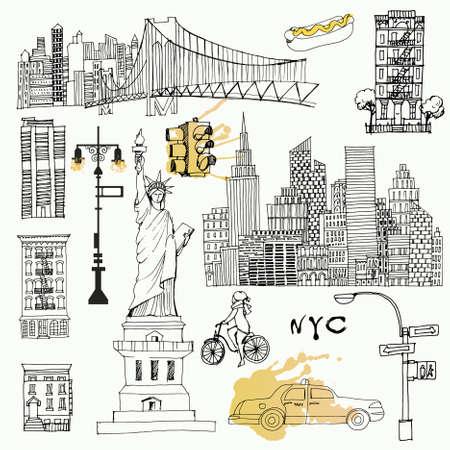 Illustration pour New York set. Sketch and watercolor - image libre de droit