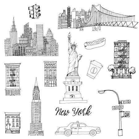 Illustration pour New York setr. Vector sketch - image libre de droit
