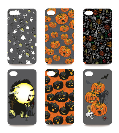 Set of Halloween ornament for mobile phone cover