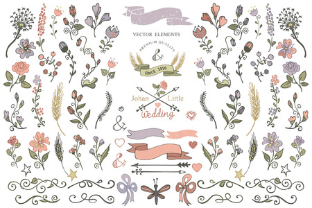Colored  Doodles flower,brunshes,arrow,ribbon,decor elements set for hand sketched icon.Easy make design templates,invitations,icon.For weddings,Valentine day,holiday,birthday,Easter.Vector
