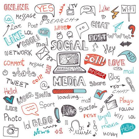 Illustration pour Social Media Word and Icon Cloud.Doodle sketchy - image libre de droit