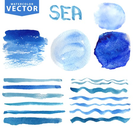 Watercolor stains,brushes,waves.Blue ocean,sea.Summer set