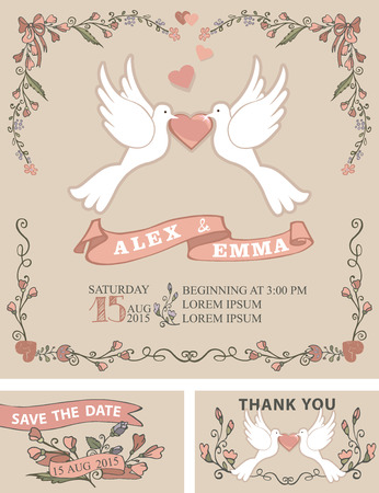Wedding Invitation Template Set With Floral Doodle Decorborder