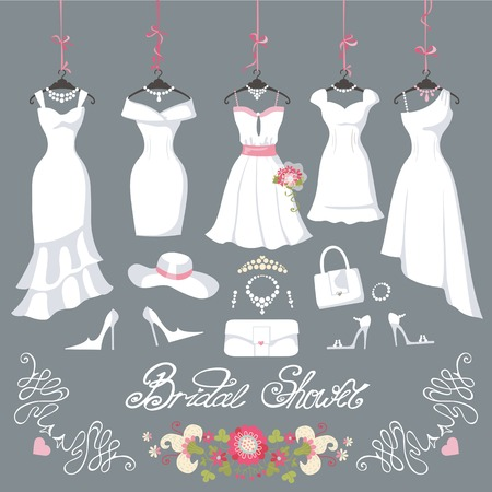 Illustration pour Wedding dresses hanging.Fashion bride short Dress made in flat style.White dress,accessories set,flowers bouquet.Holiday vector background.Bridal shower composition in Different styles - image libre de droit