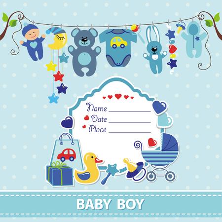 Ilustración de New born Baby boy invitation shower card.Flat elements hanging on rope,label,stork.Vector scrapbook decor.Greeting pstcard.Blue,cyan colors,polka dot background.Design template. - Imagen libre de derechos