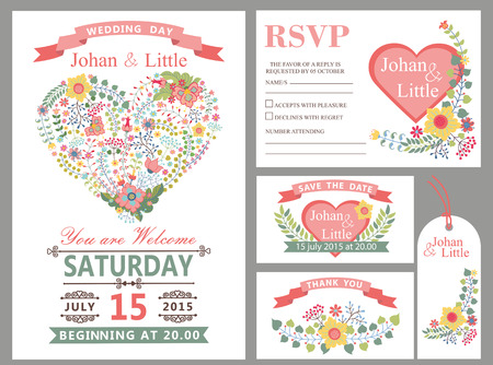 Photo for Wedding design template set with flowers,pink hearts,frame,ribbon and border in Retro style .For Wedding  invitation,thank you card ,save date,tag,RSVP card.Vintage vector,floral decor. - Royalty Free Image