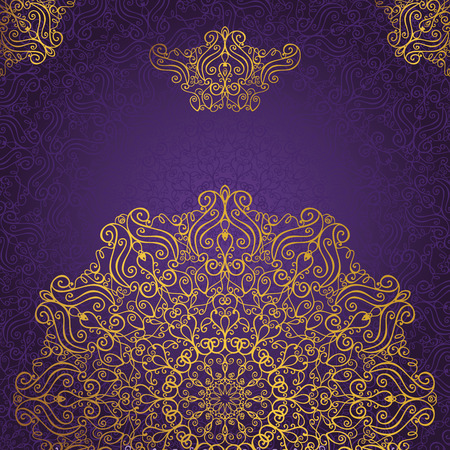 Foto de Mandala pattern and background.Vintage decorative ornament and background.East,Islam,Arabic,Indian,ottoman motifs and revival swirling.Gold,violet Abstract Tribal and ethnic texture.Orient,symmetry lace,wallpaper. - Imagen libre de derechos