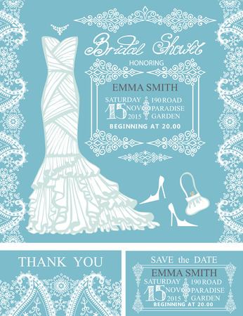 Bridal Shower Invitation Setbridal Wedding Dresspisley