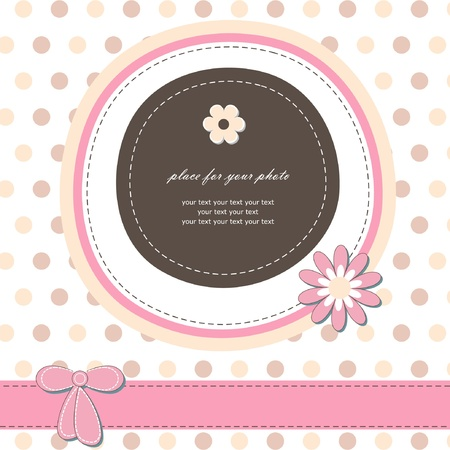 Romantic girl scrapbooking version Baby card for invitation, greeting, birthday, label, postcard, congratulation, frame, gift and etc