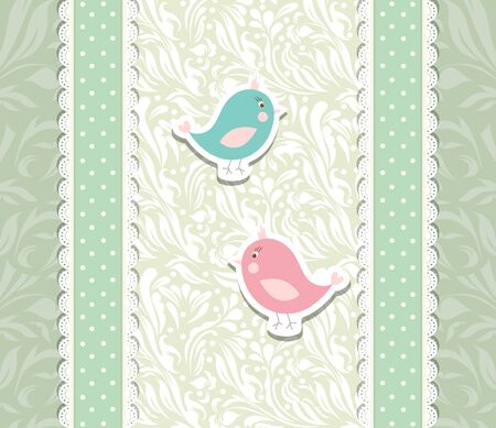 Vintage cute art baby background for invitation