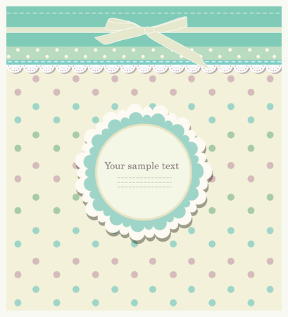 Romantic scrap booking template for invitation, greeting, baby shower card, happy birthday label, postcard frame or child album. Vector illustration in vintage style