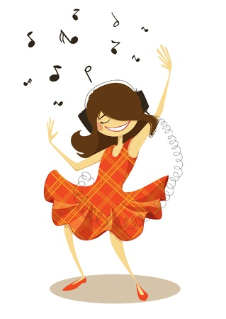 Girl dancing with headphones, illustration