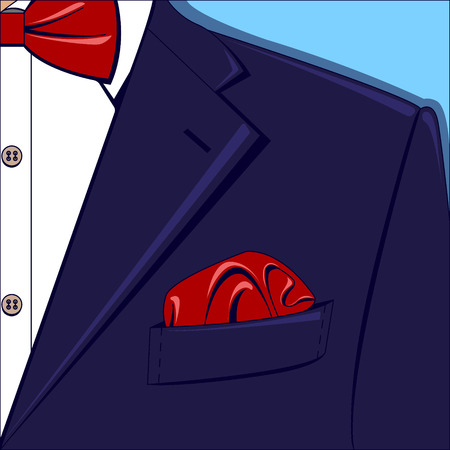 Vector illustration of a blue man suit with red bow-tie and pocket square, white shirt on the blue background.
