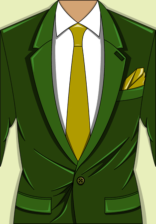 Vector illustration of a green man suit with light green tie and pocket square, white shirt on the light background.