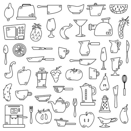 Illustration for Set of cute isolated elements with fruits and vegetables, kitchen appliances. Flat illustrations. - Royalty Free Image