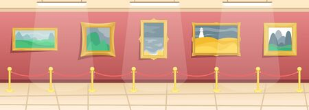 Illustration pour Fine arts museum. Hall with paintings in gilded baguettes, fenced from visitors. Classical art. Flat vector illustration. - image libre de droit