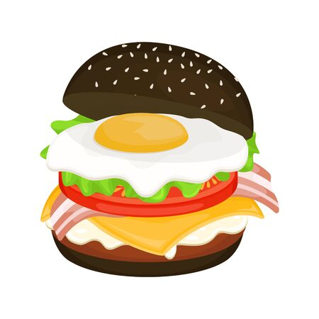 Illustration pour Delicious hamburger on a black bun with cutlet, scrambled eggs and bacon. Vector illustration of fast food. Junk food. - image libre de droit