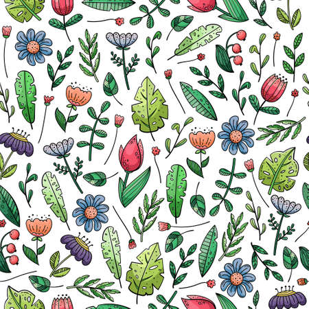 Illustration pour Hand drawn vector seamless pattern with doodles illustrations. Flowers and plants. Decorative floral background. - image libre de droit