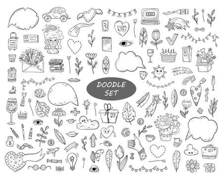 Illustration for Hand drawn vector doodle set. Decorative illustrations. Design elements. - Royalty Free Image