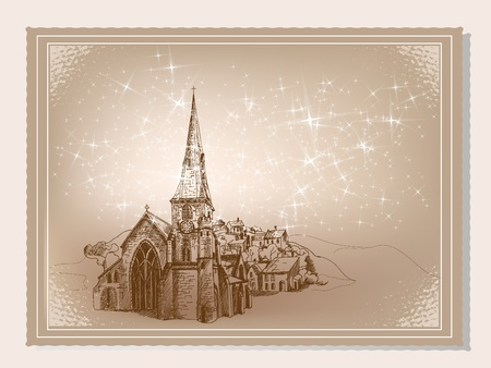 Illustration for Old fashioned vintage winter postcard. - Royalty Free Image