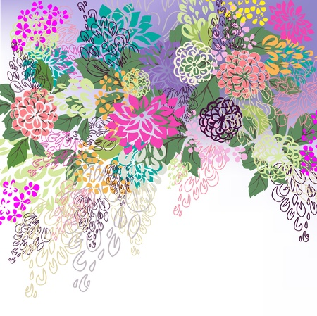 Multicolored floral hand drawn white, violet background.