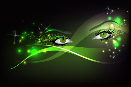Dark background with beautiful green glamour shining sparked eyes.