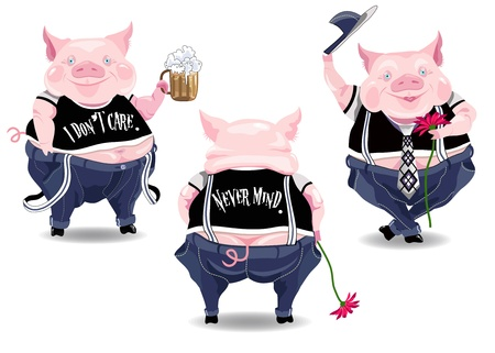 Three funny pig characters with beer, flower and text.